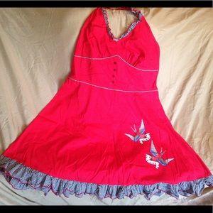 💥🍒☠️Red Rockabilly dress! Rare!